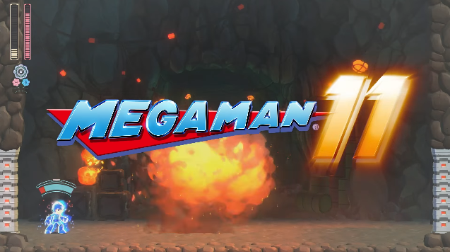 Mega Man 11 logo title explosion boom fire Final Smash end of trailer