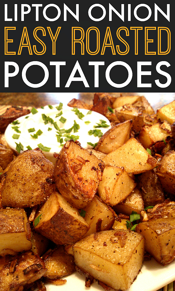 An easy side dish recipe for oven roasted potatoes seasoned with Lipton onion soup mix.