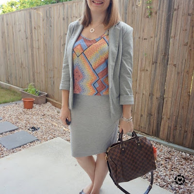 awayfromtheblue Instagram | jersey grey suit separates blazer pencil skirt bright colourful mixed print tank speedy bandouliere