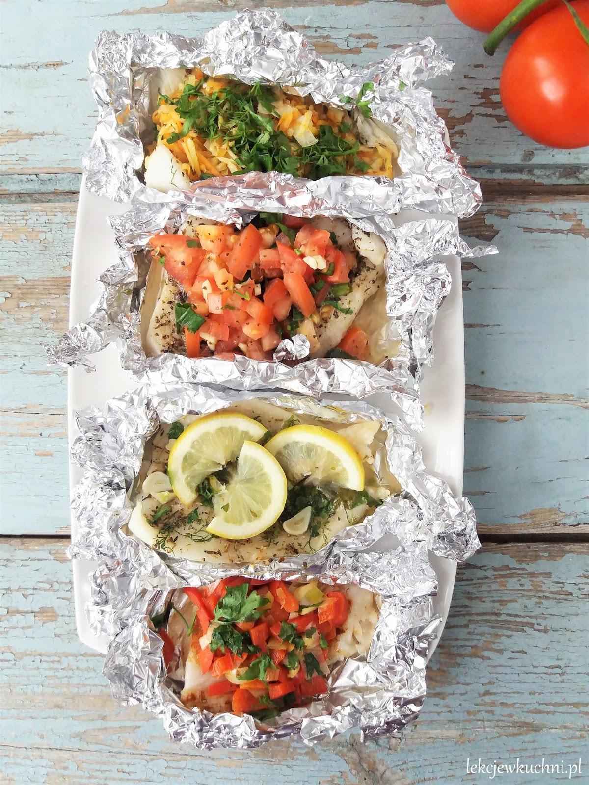 Ryba W Folii Z Warzywami Z Grilla Lub Z Piekarnika Baked Or Grilled Fish With Vegetables Lekcje W Kuchni