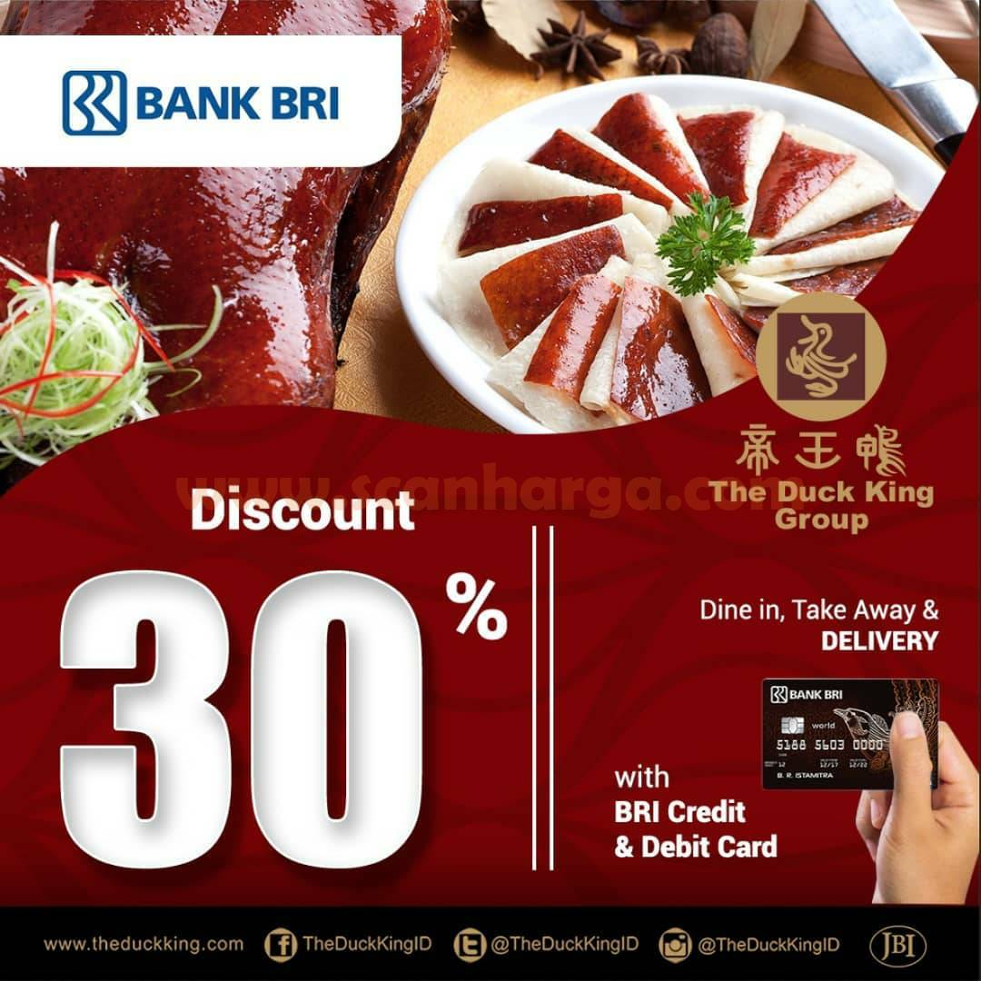 The Duck King Promo Kartu Kredit & Debit BRI - Diskon 30% semua menu