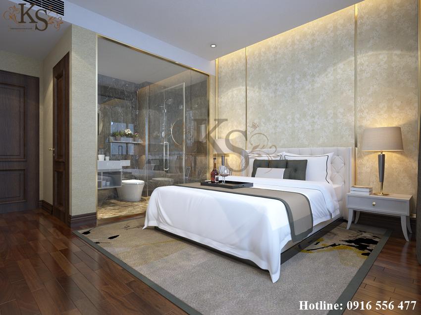 Hình ảnh: Thiết kế nội thất phòng ngủ khách sạn đơn sử dụng chất liệu kính trong suốt ngăn cách không gian nhà tắm với không gian sinh hoạt chính.