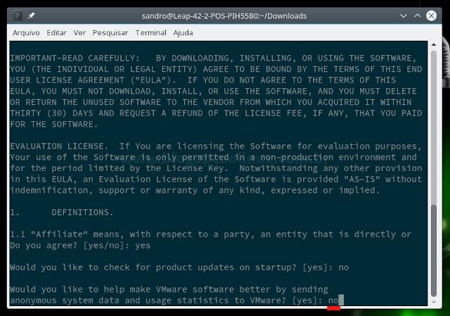 Deseja que o VMware Player envie informações anônimas do seu sistema e estatísticas de uso à VMware?