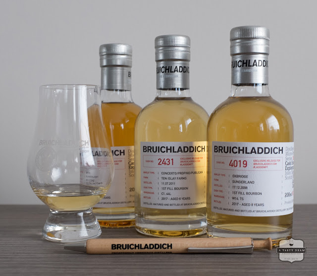 Three Bruichladdich Islay Barley single casks Laddie MP7 exclusives