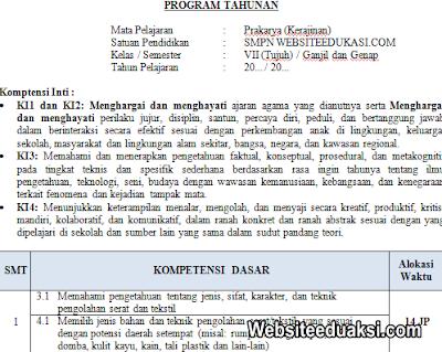 Prota Prakarya Kelas 7 Kurikulum 2013 Revisi Terbaru