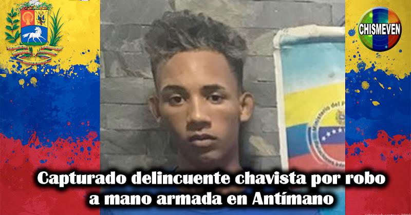 Capturado delincuente chavista por robo a mano armada en Antímano