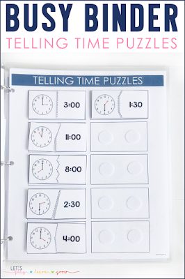 Telling Time Puzzles Busy Binder Activity