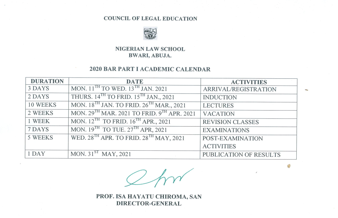 NLS Academic Calendar Schedule 2020/2021 [Bar Part I, II]