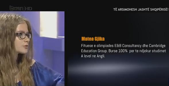 Matea Gjika, the Albanian girl won one scholarship out of five available for whole world