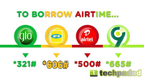 Code to Borrow Airtime Credit on MTN, 9Mobile, Airtel and Glo