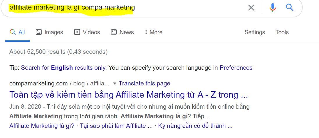 google từ khóa affiliate marketing
