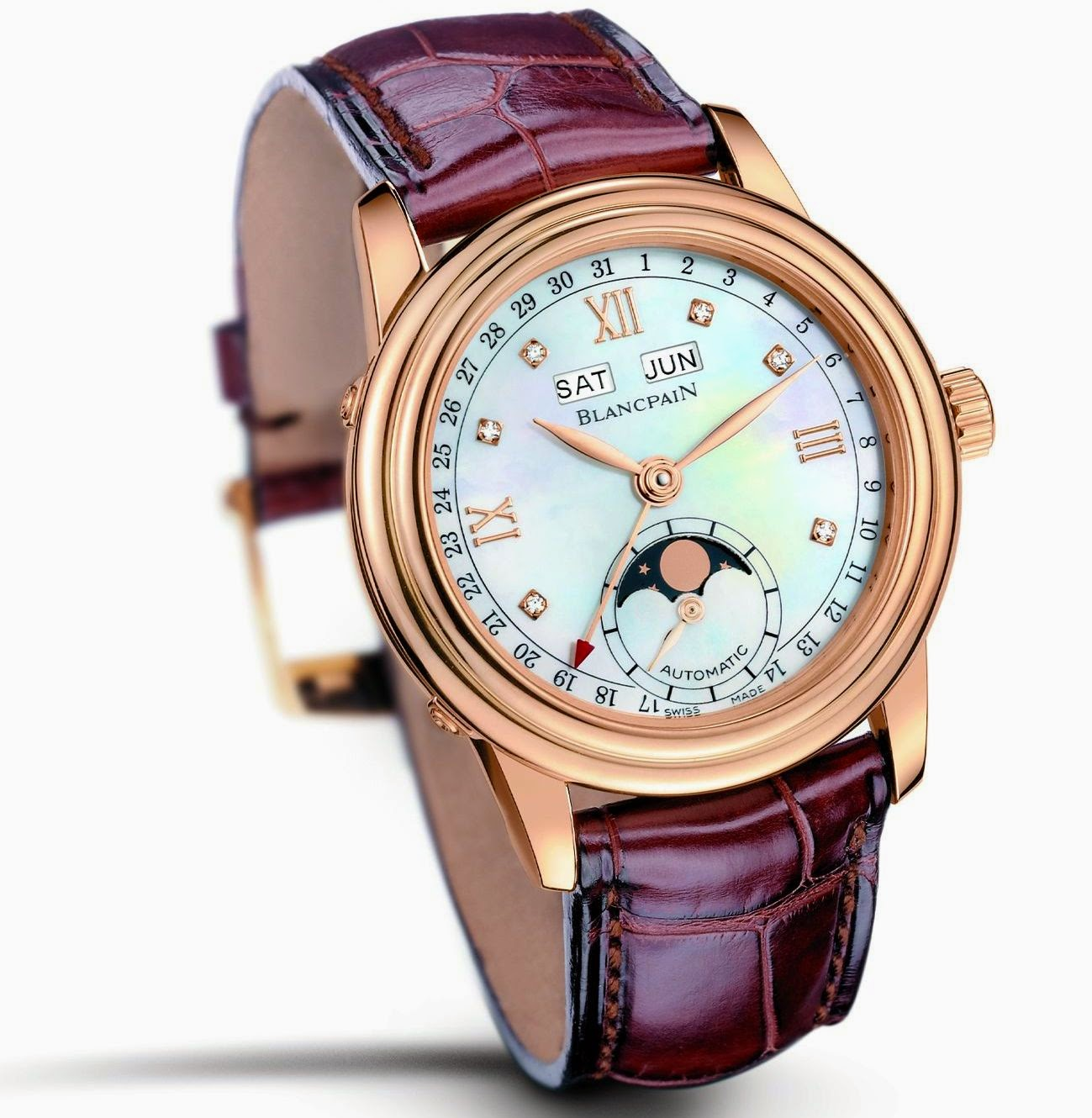 BLANCPAIN Leman, Red Gold Case with White Mother-of-Pearl Dial, 2002