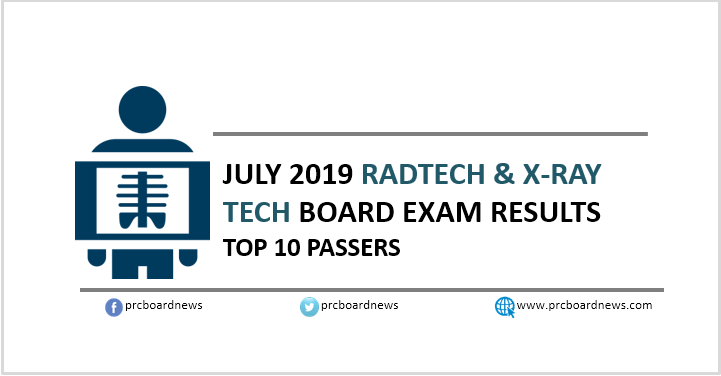 PRC RESULT: July 2019 Radtech, X-Ray Tech board exam top 10