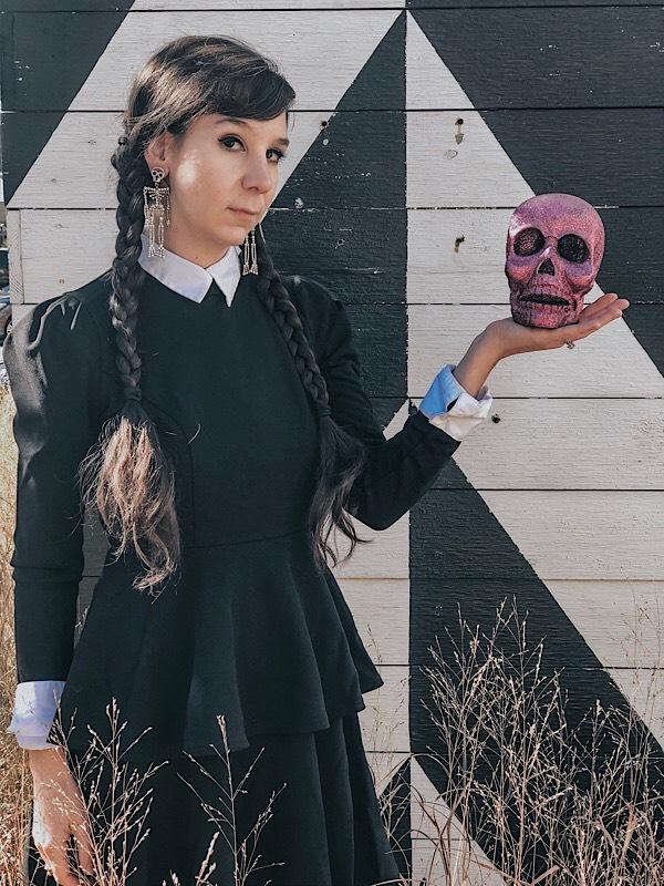 Wednesday Addams costume and skull