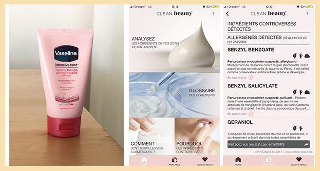 Application Clean Beauty et composition des produits cosmétiques