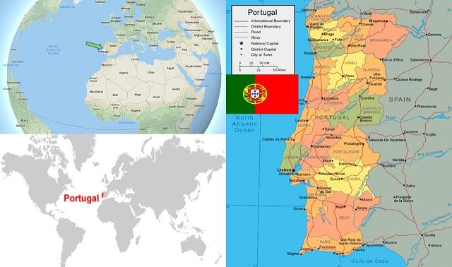 peta negara portugal