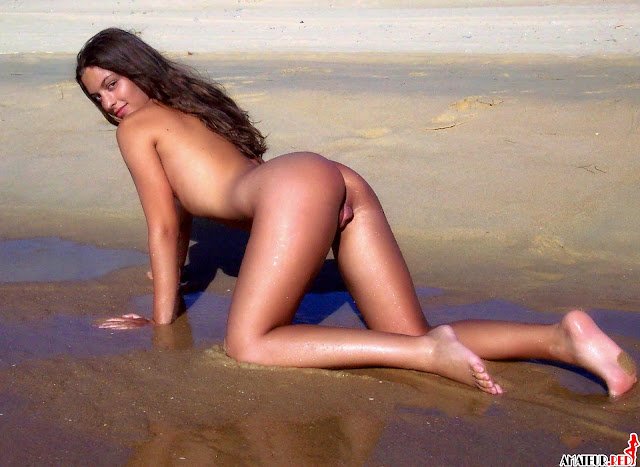beautiful naked brunette posing on the beach