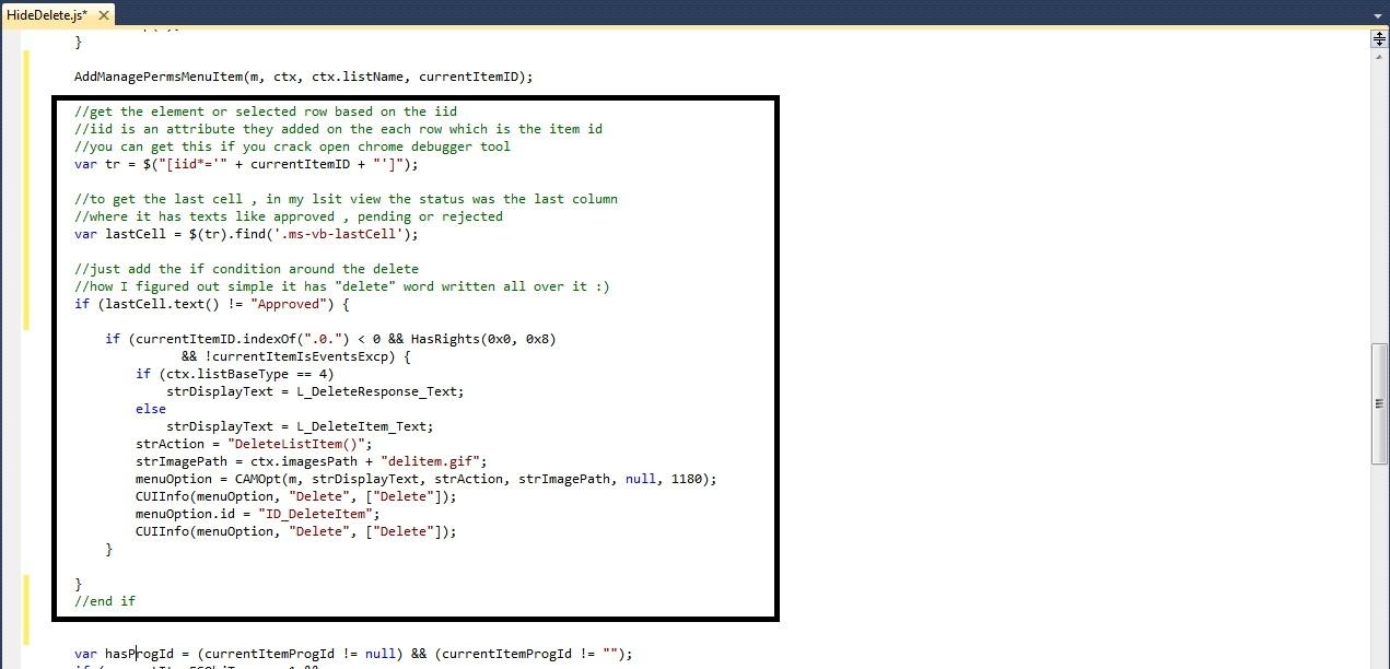 Javascript sharepoint 2010 hide delete button | live net