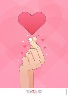 Mama Love Print Printable -  Nursey Heart Poster Free Download Freebies Printable for Home Decoration Print Gift Art