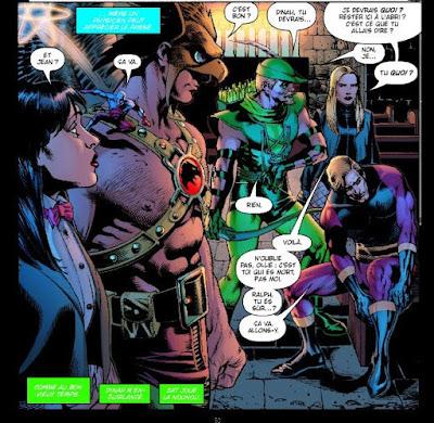 Double page où les héros entoure Extensiman encore sous le choc de la perte de sa femme...