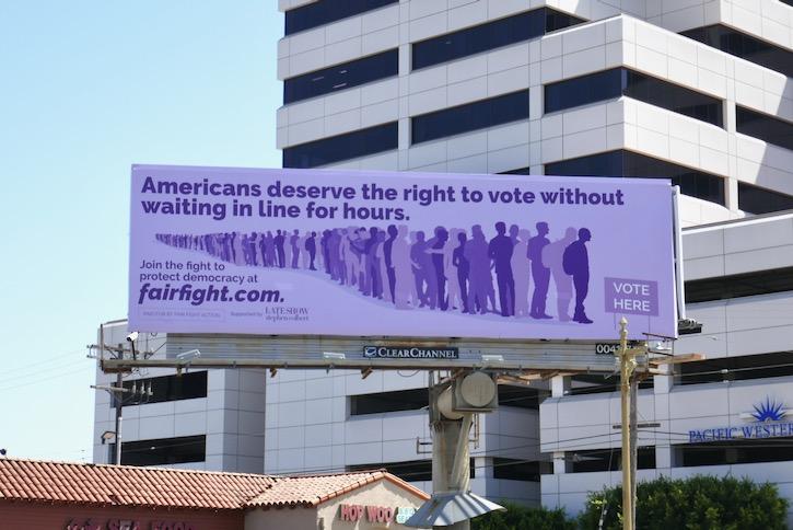 voting Fair fight Stephen Colbert billboard