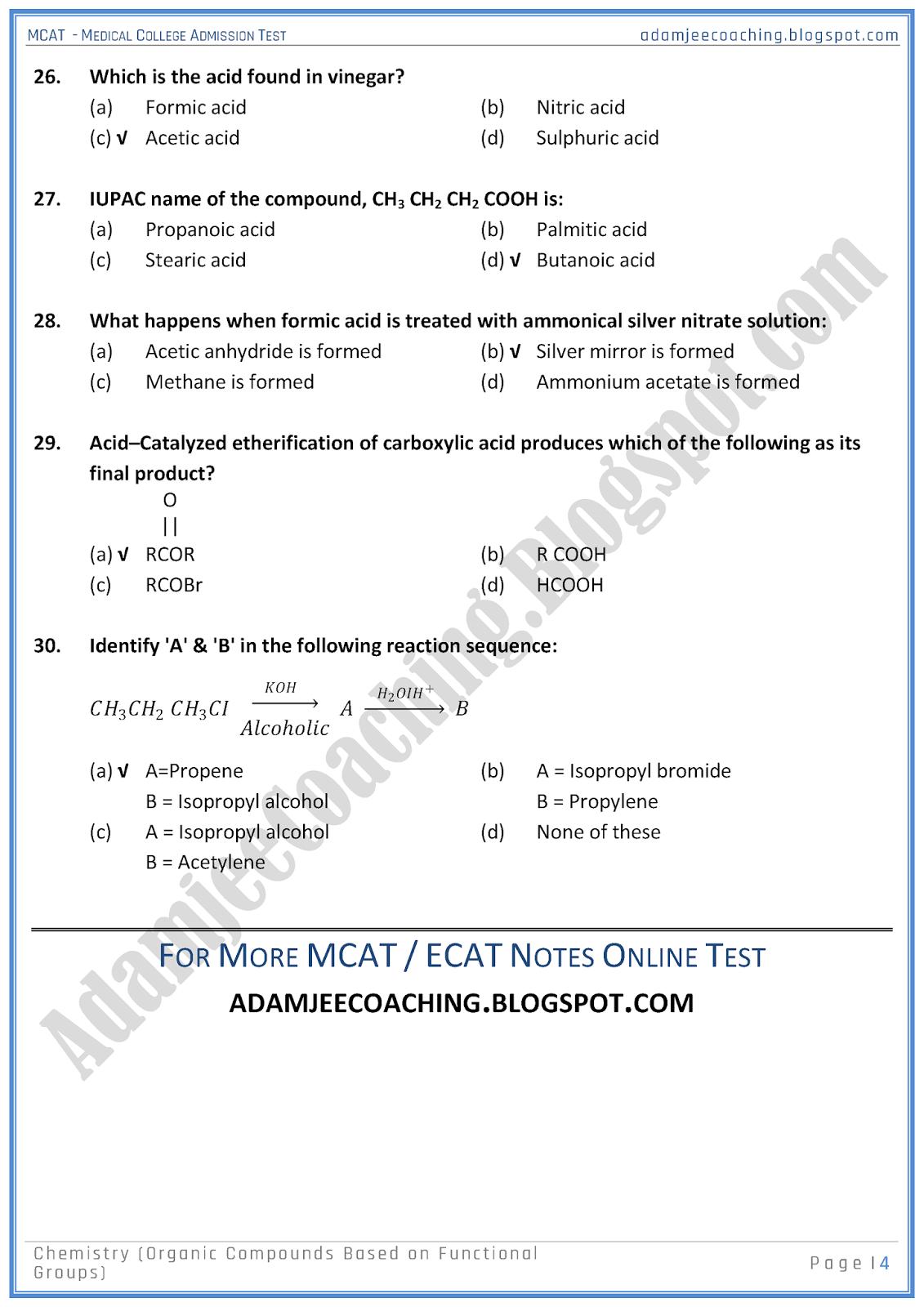 Adamjee Coaching Mcat Chemistry Organic Compounds Based