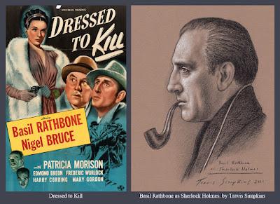 Basil Rathbone as Sherlock Holmes. Actor. Sir Arthur Conan Doyle. Dressed to Kill. by Travis Simpkins