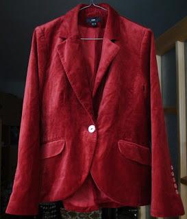 Sacou rosu din catifea by H&M