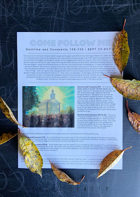 Come Follow Me printed out study sheet with leaves.