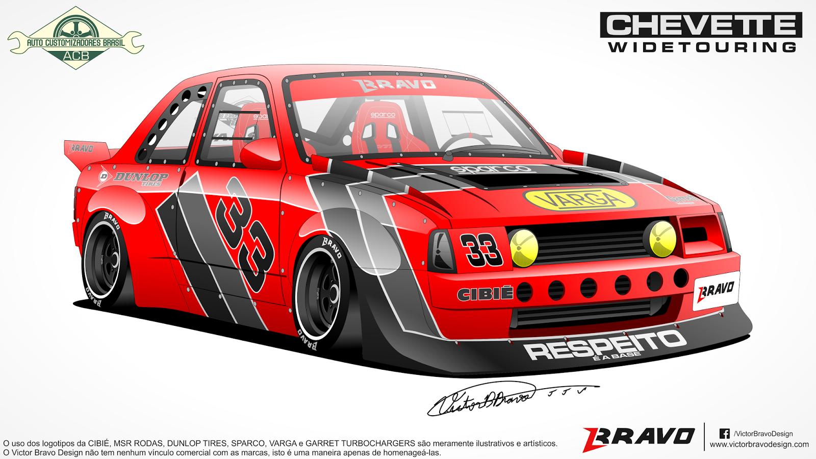 Imagem mostrando a frente do desenho do Chevrolet Chevette ''Widetouring''