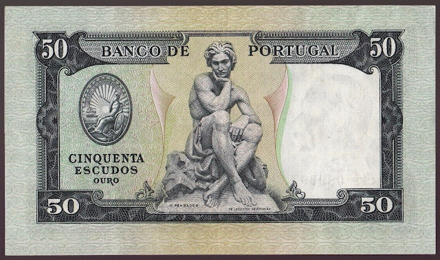 Portugal money currency 50 Escudos banknote 1955 Statue by Leopoldo de Almeida