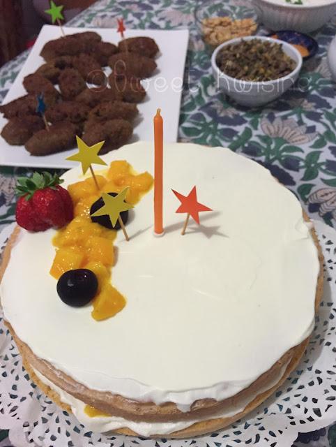sweet kwisine, génoise, mangue, fruit de la passion, gâteau d'anniversaire, chantilly, mascarpone, vanille