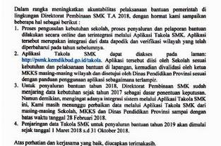 Penyaluran Bantuan Pemerintah melalui Aplikasi Takola SMK