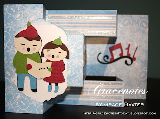Cute Carolers, tri-shutter card. Designed by Grace Baxter