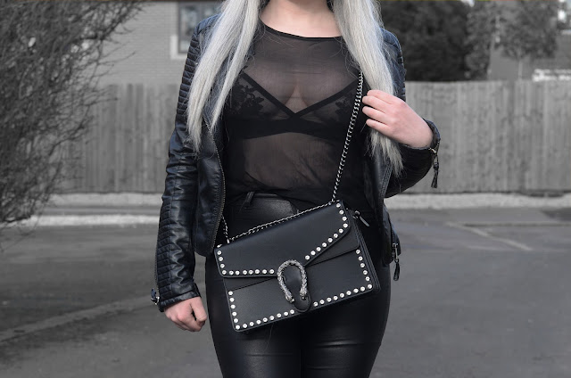 Sammi Jackson - Primark Fedora / Zaful Sunglasses / Shein Biker Jacket / Primark Bralet / Black Mesh Top / Miss Pap Designer Dupe Snake Hasp Jewelled Bag / Primark Faux Leather Jeans / Office Chunky Ankle Boots