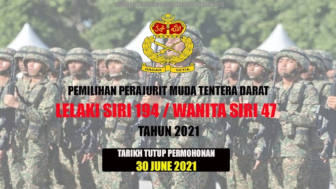 Pemilihan Perajurit Muda Tentera Darat Lelaki Siri 194 Dan Wanita Siri 47 Bagi Tahun 2021
