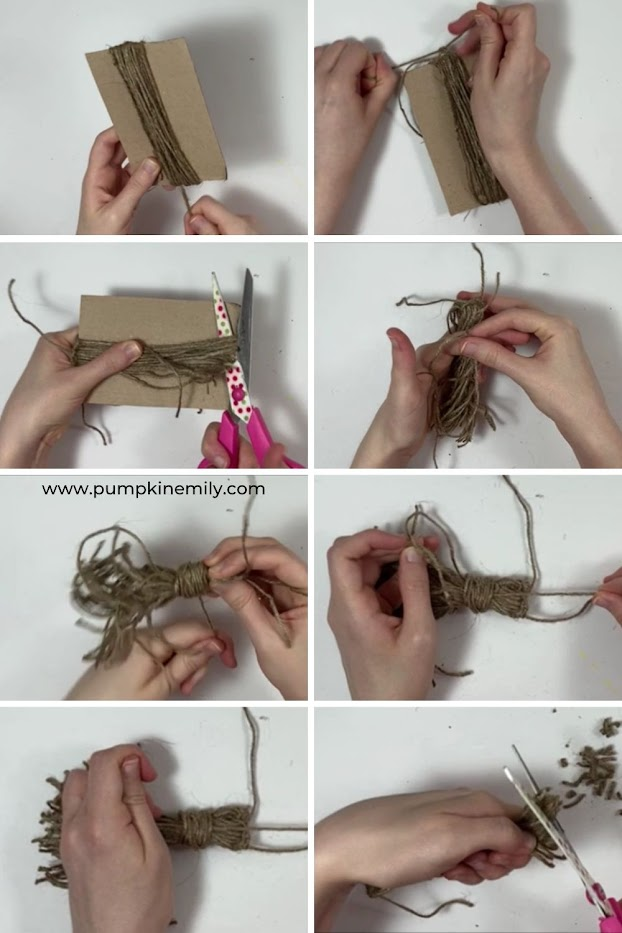 Creating a tassel with twine.