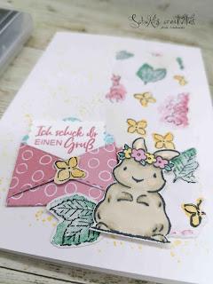 Stanzformen Schnecke, Stempelset Springtime Joy, Designerpapier SAB Ombree, Blends, Aquarellstifte