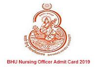 BHU Nursing Officer Admit Card