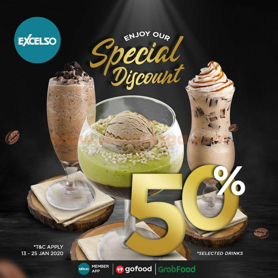 Promo EXCELSO Special Discount 50% via Gofood & Grabfood