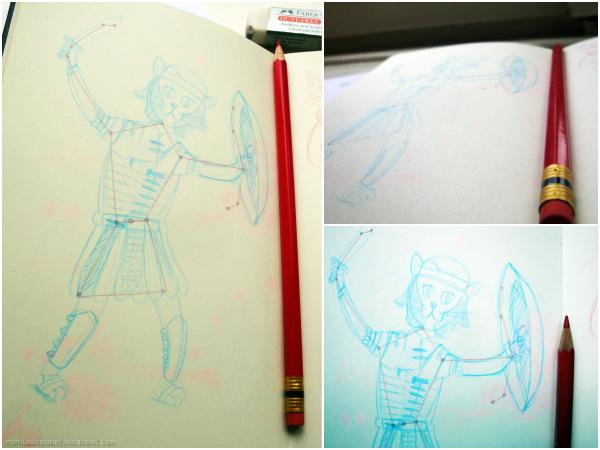 Bocetos de ilustración de Orión-gato