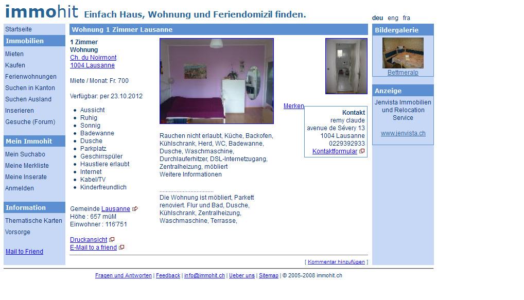 wohnungsbetrug.blogspot.com: Wohnung 1 Zimmer Lausanne Ch ...