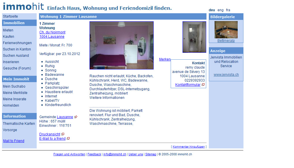 wohnung 1 zimmer lausanne ch. Black Bedroom Furniture Sets. Home Design Ideas