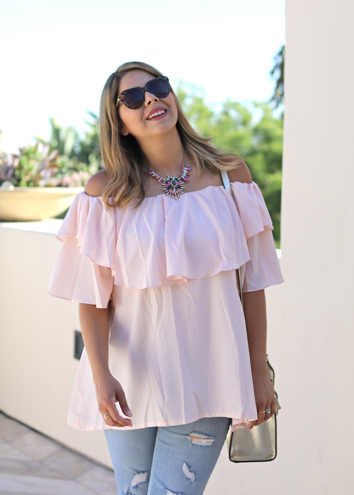Latina fashion blogger, latina style blogger, karen walker sunglasses outfit, how to wear an off the shoulder top, san diego lifestyle