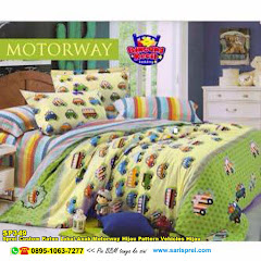 Sprei Custom Katun Lokal Anak Motorway Hijau Pattern Vehicles Hijau