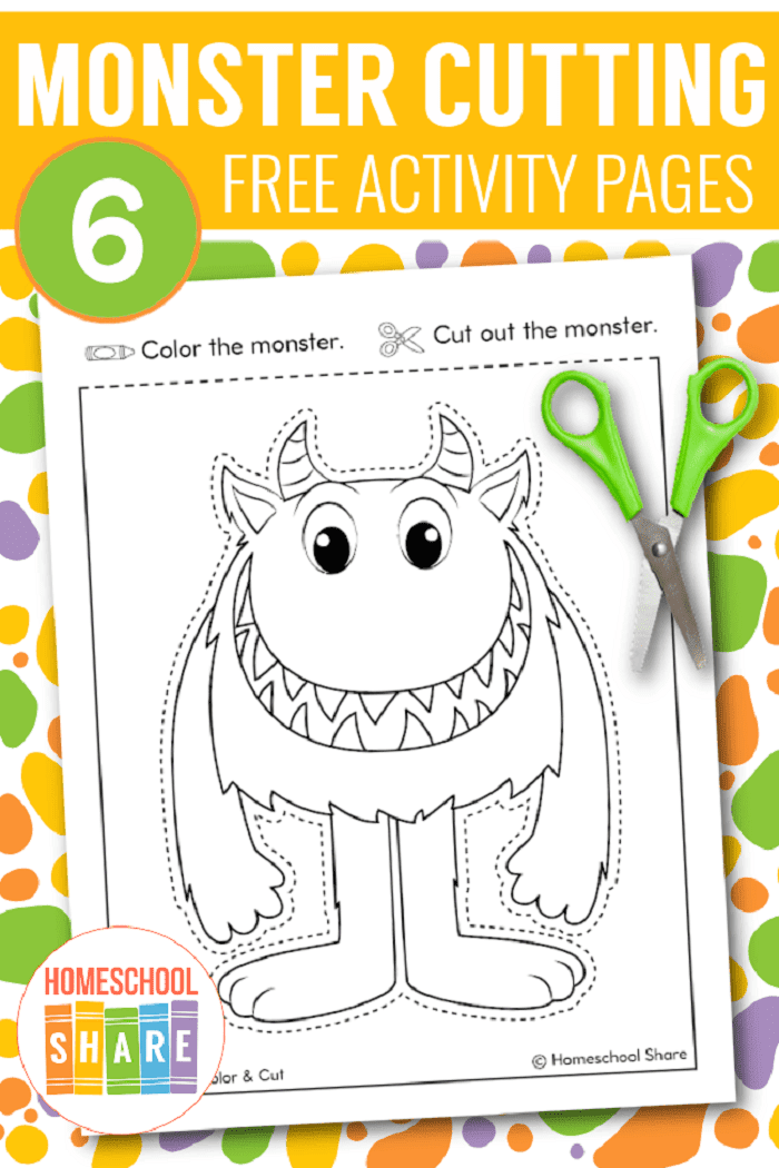 free printable monster cutting pages