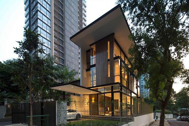 Vivienda moderna y actual con madera en Paterson 3, Singapur.