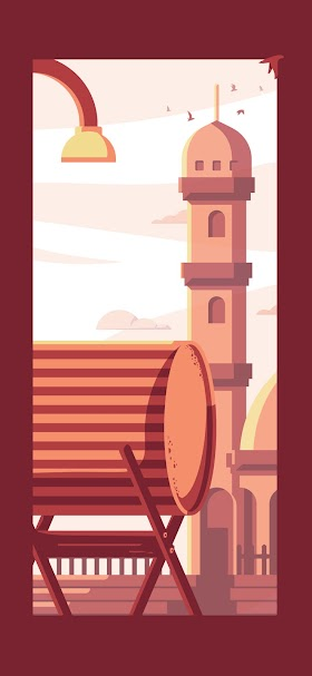خلفية رسم لمأذنة مسجد بنية اللون وقت الغروب