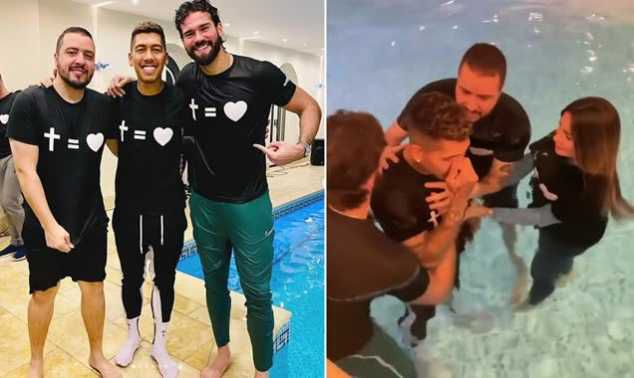 Liverpool Star Roberto Firmino Baptised In His Swimming Pool With Teammate Alisson Becker (Photos)