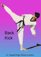 Master Er. Satpal Singh Rehal in Tkd action doing Taekwondo Dwi Yeop Chagi Side Back Kick, Garhshankar, Hoshiarpur, Mohali, Chandigarh, Punjab, India, Patiala, Jalandhar, Moga, Ludhiana, FSpliterozepur, Sangrur, Fazilka, Mansa, Nawanshahr, Ropar, Amritsar, Gurdaspur, Tarn taran, Martial Arts Tkd Training Club, Classes, Academy, Association, Federation
